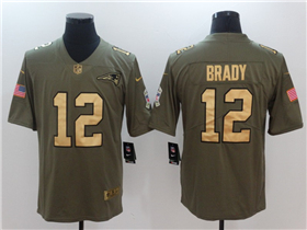 New England Patriots #12 Tom Brady 2017 Olive Gold Salute To Service Limited Jersey