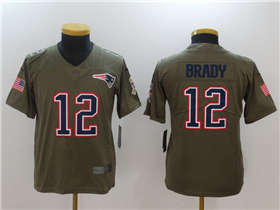 New England Patriots #12 Tom Brady Youth Olive Salute To Service Limited Jersey