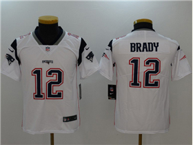 New England Patriots #12 Tom Brady Youth White Vapor Untouchable Limited Jersey