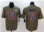 New England Patriots #12 Tom Brady 2017 Olive Salute To Service Limited Jersey
