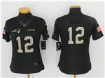 New England Patriots #12 Tom Brady Anthracite Women's Salute to Service Jersey