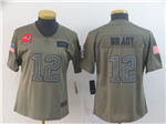 New England Patriots #12 Tom Brady Women's 2019 Olive Salute To Service Limited Jersey