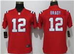 New England Patriots #12 Tom Brady Women's Red Vapor Untouchable Limited Jersey