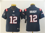 New England Patriots #12 Tom Brady Youth Blue Color Rush Litmited Jersey