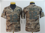 New England Patriots #12 Tom Brady Youth 2018 Camo Salute To Service Limited Jersey
