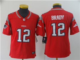 New England Patriots #12 Tom Brady Youth Red Inverted Limited Jersey