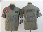 New England Patriots #12 Tom Brady Youth 2019 Olive Salute To Service Limited Jersey
