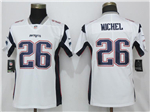 New England Patriots #26 Sony Michel Women's White Vapor Untouchable Limited Jersey