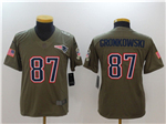 New England Patriots #87 Rob Gronkowski Youth Olive Salute To Service Limited Jersey