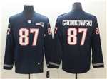 New England Patriots #87 Rob Gronkowski Navy Therma Long Sleeve Jersey