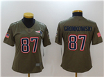 New England Patriots #87 Rob Gronkowski Women's Olive Salute To Service Limited Jersey