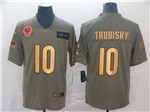 Chicago Bears #10 Mitchell Trubisky 2019 Olive Gold Salute To Service Limited Jersey