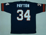 Chicago Bears #34 Walter Payton Throwback Navy Blue Jersey with Bear Patch