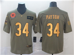 Chicago Bears #34 Walter Payton 2019 Olive Gold Salute To Service Limited Jersey
