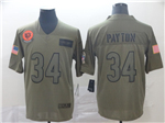 Chicago Bears #34 Walter Payton 2019 Olive Salute To Service Limited Jersey