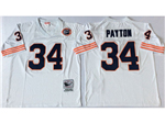 Chicago Bears #34 Walter Payton Throwback White Jersey with Bear Patch