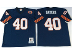 Chicago Bears #40 Gale Sayers Throwback Navy Blue Jersey with Bear Patch