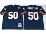 Chicago Bears #50 Mike Singletary Throwback Navy Blue Jersey with Bear Patch