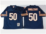 Chicago Bears #50 Mike Singletary Throwback Navy Blue Jersey