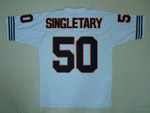 Chicago Bears #50 Mike Singletary Throwback White Jersey with Bear Patch