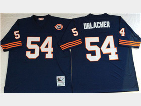 Chicago Bears #54 Brian Urlacher Throwback Navy Blue Jersey with Bear Patch