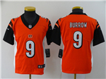 Cincinnati Bengals #9 Joe Burrow Youth Orange Vapor Untouchable Limited Jersey