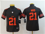 Cleveland Browns #21 T.J. Ward Youth Brown Vapor Untouchable Color Rush Limited Jersey