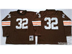 Cleveland Browns #32 Jim Brown 1964 Throwback Brown Jersey