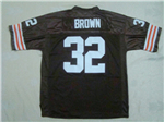 Cleveland Browns #32 Jim Brown 1963 Throwback Brown Jersey