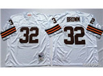 Cleveland Browns #32 Jim Brown 1963 Throwback White Jersey