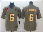Cleveland Browns #6 Baker Mayfield 2019 Olive Gold Salute To Service Limited Jersey