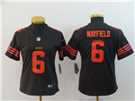 Cleveland Browns #6 Baker Mayfield Women's Brown Vapor Untouchable Color Rush Limited Jersey