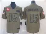 Kansas City Chiefs #15 Patrick Mahomes 2019 Olive Salute To Service Limited Jersey