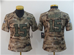 Kansas City Chiefs #15 Patrick Mahomes Women's 2018 Camo Salute To Service Limited Jersey