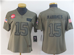 Kansas City Chiefs #15 Patrick Mahomes Women's 2019 Olive Salute To Service Limited Jersey