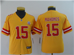 Kansas City Chiefs #15 Patrick Mahomes Youth Gold Inverted Limited Jersey