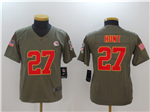 Kansas City Chiefs #27 Kareem Hunt Youth 2017 Olive Salute To Service Limited Jersey