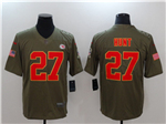 Kansas City Chiefs #27 Kareem Hunt 2017 Olive Salute To Service Limited Jersey