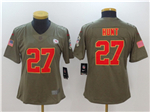 Kansas City Chiefs #27 Kareem Hunt Women's 2017 Olive Salute To Service Limited Jersey