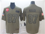 Kansas City Chiefs #87 Travis Kelce 2019 Olive Salute To Service Limited Jersey