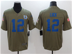 Indianapolis Colts #12 Andrew Luck 2017 Olive Salute To Service Limited Jersey