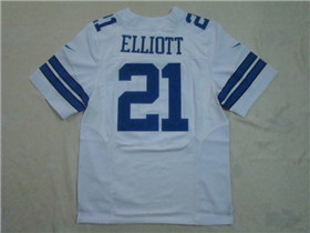 Dallas Cowboys #21 Ezekiel Elliott Elite White Jersey