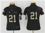 Dallas Cowboys #21 Ezekiel Elliott Anthracite Youth Salute to Service Jersey