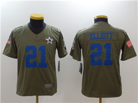 Dallas Cowboys #21 Ezekiel Elliott Youth Olive Salute To Service Limited Jersey
