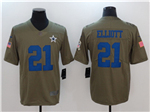 Dallas Cowboys #21 Ezekiel Elliott 2017 Olive Salute To Service Limited Jersey