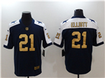 Dallas Cowboys #21 Ezekiel Elliott Thanksgiving Blue Gold Vapor Untouchable Limited Jersey
