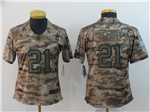 Dallas Cowboys #21 Ezekiel Elliott Women's 2018 Camo Salute To Service Limited Jersey
