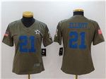 Dallas Cowboys #21 Ezekiel Elliott Women's Olive Salute To Service Limited Jersey