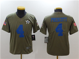 Dallas Cowboys #4 Dak Prescott Youth Olive Salute To Service Limited Jersey