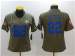 Dallas Cowboys #82 Jason Witten Women's Olive Salute To Service Limited Jersey